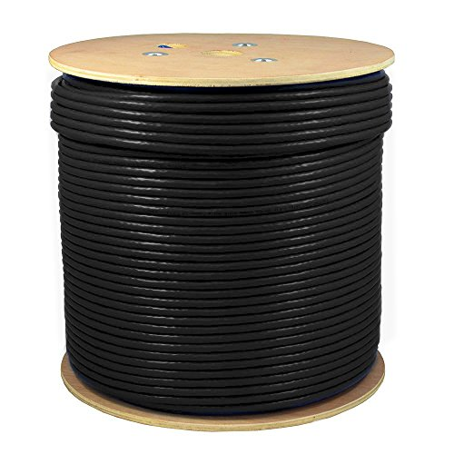 SolidLink 1000ft CAT6A S/FTP in-Wall Rated (CMR) UL Listed Bare Copper Solid 23AWG Conductor 550Mhz Fluke Tested Ethernet Wire (Black)