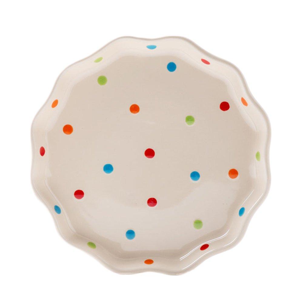 CHOOLD Ceramic Wave edged Polka Dot Dinner Plate/Salad Plate/Dessert Plate/Steak Plate for Kitchen Party Restaurant, Multicolor 8''