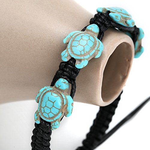 PearlyPearls Hawaii Style Ocean Turtle Bracelets Synthetic Turquoise Wrap Bangles Handmade Jewelry