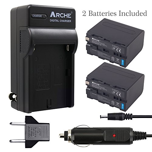 ARCHE NP-F970 NP F975 F960 F950 Battery <2 Pack> and Rapid Charger Set for [Sony DCM-M1 MVC-CD1000 HDR-FX1 DCR-VX2100E DSR-PD190P NEX-FS700RH HXR-NX3 HVL-LBPB and more Camcorder] by ARCHE