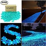 kingleder 200 Pcs Blue Glow in the Dark Garden Stone Pebbles Gravel for Walkways Yard Fish Tank Aquarium Decor (200, Blue)