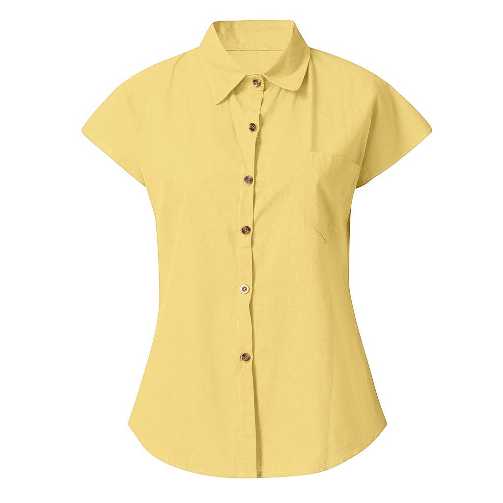 Triskye Womens Casual Loose Roll-up Sleeve Blouse Pocket Button Down Shirts Tops
