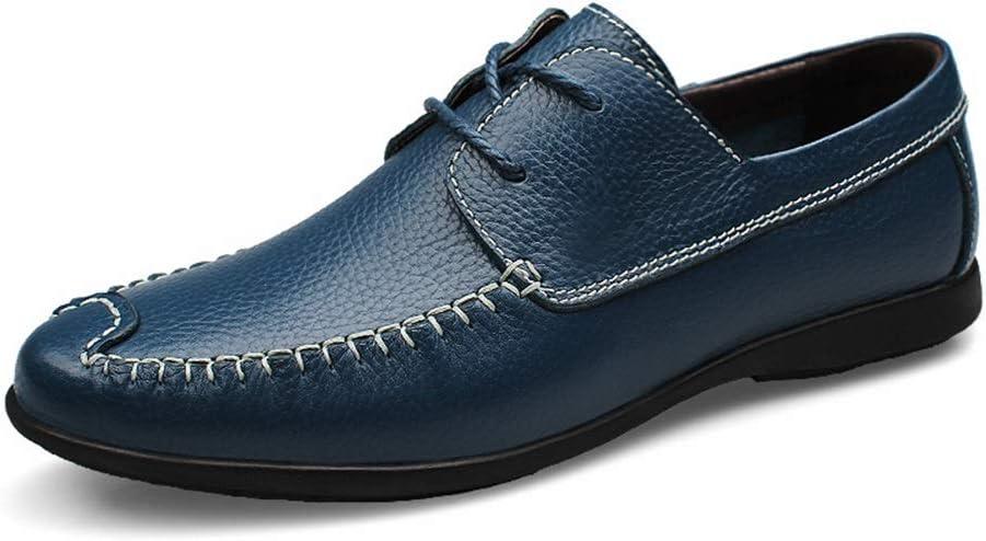 Blau 38 EU DuoShengZhTG Herren Schn&uu ;rschuhe Echtes Leder Perforierte atmungsaktive Schuhe Schn&uu ;rschuhe Antirutsch-Arbeit Formelle Schuhe Business Oxfords (Farbe   Blau, Gr&ou ;ße   38 EU)