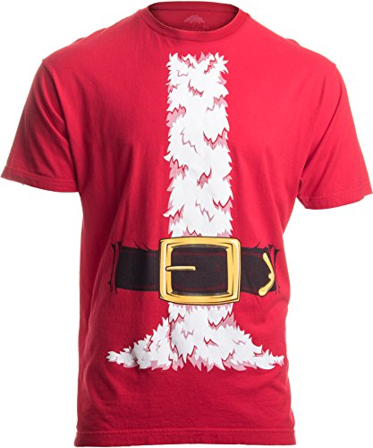 Santa Claus Costume | Jumbo Print Novelty Christmas Holiday Humor Unisex T-shirt-Adult,2XL Red