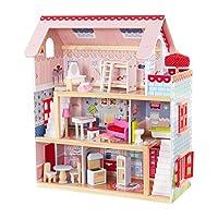 KidKraft 65054 Casa de muñecas de madera Chelsea Doll Cottage para muñecas de 12cm con 16 accesorios incluidos y 3 niveles de juego