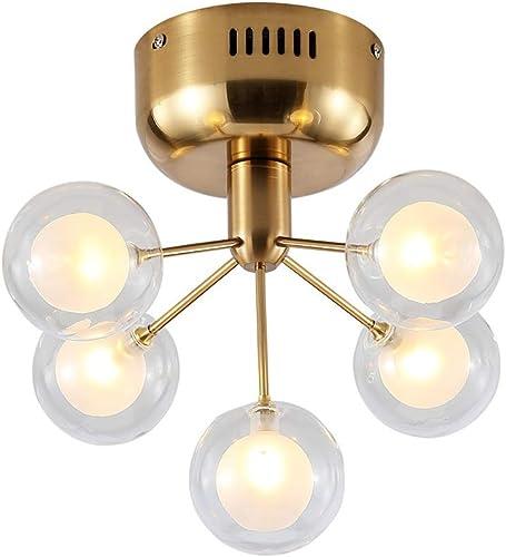 Dellemade XD00124 5-Light Sputnik Chandelier Glass Ceiling Light G4 Bulbs Included,Golden