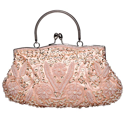 BaoLan Evening Clutch, Womens Vintage Sequined Kissing Lock Clutch Purses For Wedding & Party Pink (Evening Bag Pink Beaded)