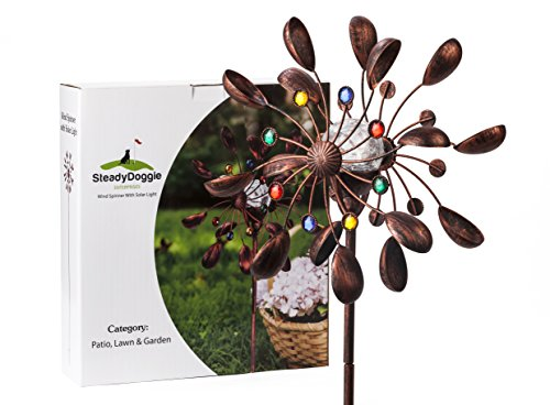 SteadyDoggie Sports & Outdoors Solar Wind Spinner New 75in Jewel Cup Multi-Color Seasonal LED Lighting Solar Powered Glass Ball with Kinetic Wind Spinner Dual Direction for Patio Lawn & Garden (Ornament Spinner Wind)