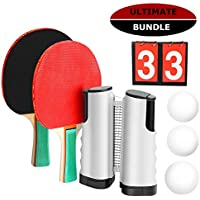 Marsrizon Professional Ping Pong Paddle Set with Retractable Net, Balls, Posts, Scoreboard, & Gift Box