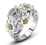 #9: WILLTOO European and American Fashion Womens Sunflower Jewelry Diamond Wedding Ring - Gift