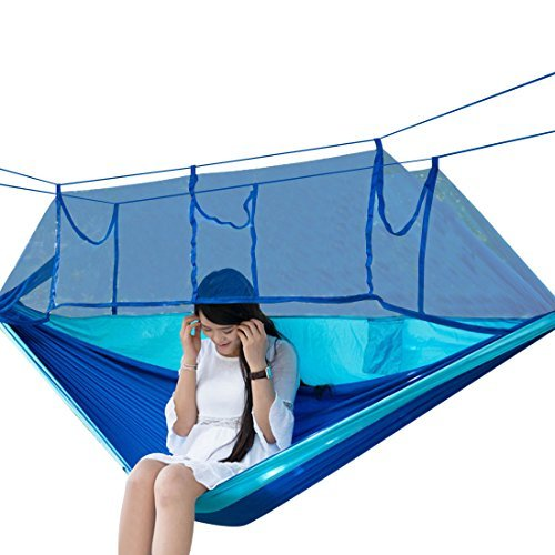 Camping Hammock, Topist Mosquito Net Hammock Bed Widened Parachute Fabric Double Hammock, Ultralight & Quality Comfort for Camping, Hiking, Travel, Outdoors and Backpacking (Blue)