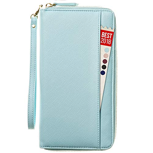 Travel Document Organizer & RFID Passport Wallet Case, Family Passport Holder Id (Blue Sky)