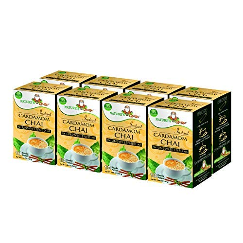 Nature's Guru Instant Cardamom Chai Tea Drink Mix, Unsweetened, 10 Count Single Serve On-the-Go Drink Packets (Pack of 8) ()