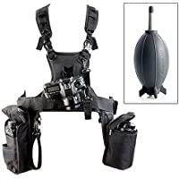 Newest Micnova MQ-MSP07 Pro Triple Camera Carrying Chest Harness System Vest with Side Holster for Canon Nikon Sony DV DSLR Cameras Panasonic Olympus Camcorder (Dust Blower Included)