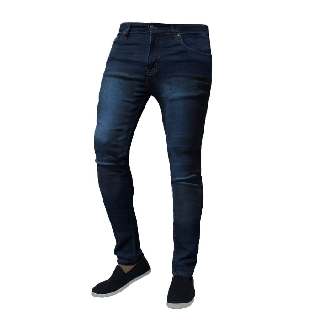 Allywit Men's Skinny Jeans Teen Boys Stretch Slim Fit Ripped Destroyed Distressed Denim Jeans Pants Dark Blue by Allywit-Pants (Image #1)