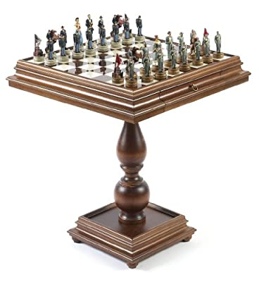 American Civil War Chessmen & Monticello Chess Table from Italy