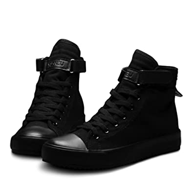 Jacky's Casual Shoes for Men and Women Breathable Black High top Lace up Canvas Unisex Espadrilles Fashion White Flat Shoes
