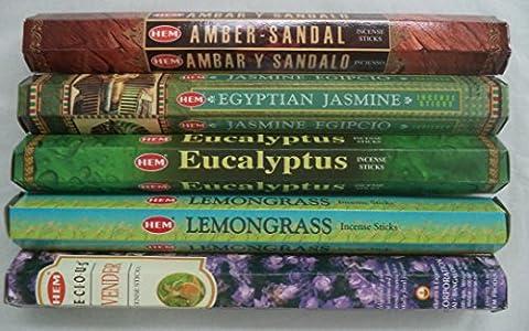 Hem Best Seller Incense Stick Set #2: Top 5 x 20 = 100 Sticks Bulk Sampler - Incense Set