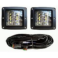 2pcs 48W LED work lights LED cube lights LED Pods Fog Lights Driving Light with harness for jeep toyota Truck UTV ATV Off-Road SUV Boat 4x4 wrangler jk jku