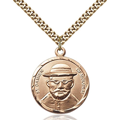 Gold Filled St. Damien of Molokai Pendant 7/8 x 3/4 inches with Heavy Curb Chain by Bonyak Jewelry Saint Medal Collection
