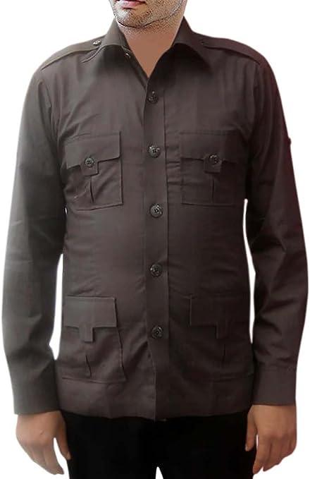 INMONARCH Safari 4 Marrón algodón Bolsillo Camisetas de ...