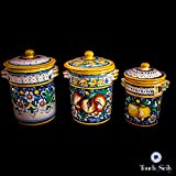 Touch of Sicily, Hand Painted Italian Ceramic Canister. Pattern C