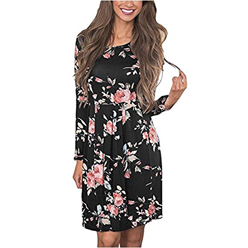 Women Floral Print Long Sleeve Dresses Ladies Super Soft Comfy Dress Knee Length Boho Dress Casual Swing Pleated Dress (Black, S) (Dinner Print)