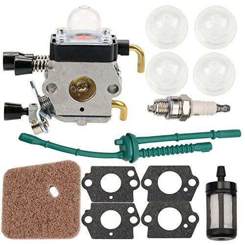 NASIBO FS80 Carburetor for STIHL C1Q-S97 Gasket Kit with Air Fuel Filer Spark Plug Fuel Line &GrommetFC55 FC75 FC85 FS310 FS38 FS45 FS45C FS45L FS46 FS55 FS55C FS55R FS55RC FS55T FS74 FS75 FS76 FS80 F