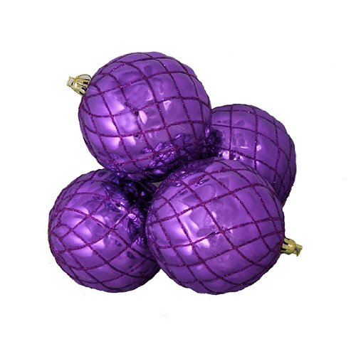 DAK 4 Count Shiny Purple Diamond Shatterproof Christmas Ball Ornaments, 3.75'' by DAK