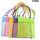 Beach Mesh Bags,Seashell Net- Toy Storage Bag (Pack of 5) with 8pcs Compressed Towels