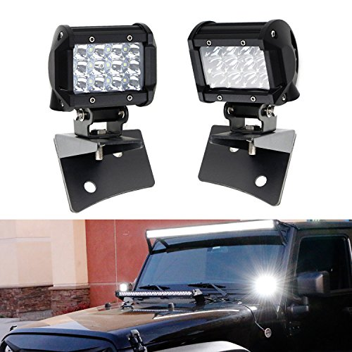 iJDMTOY A-Pillar LED Dually Pod Light Kit For 2007-2017 Jeep Wrangler JK, Includes (2) 36W High Power CREE LED Pod Lamps & Front Windshield A-Pillar Panel Mounting Brackets ()
