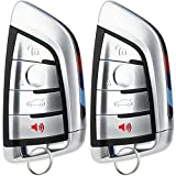 KeylessOption Keyless Entry Remote Car Smart Key Fob Replacement for BMW X5 X6 2014-2017 (Pack of 2)