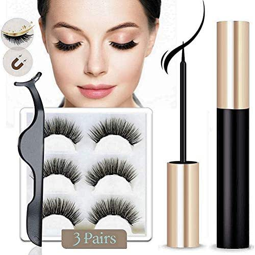 Magnetic Eyeliner and Magnetic Eyelashes, Magnetic Eyeliner for Magnetic Lashes Set,Easy to Wear,With Reusable Lashes (3 Pairs)