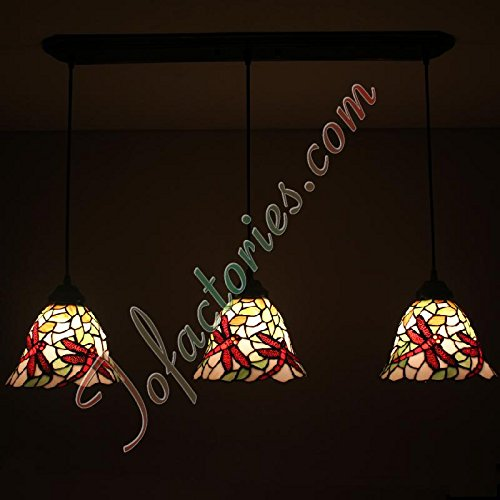 ETERN Dragonfly Dancing Fly Continental Retro Corridors Aisle Tifffany Chandelier - 3 Lights