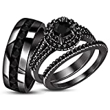 TVS-JEWELS Black Rhodium Plated Engagement Wedding Ring Set For His & Her