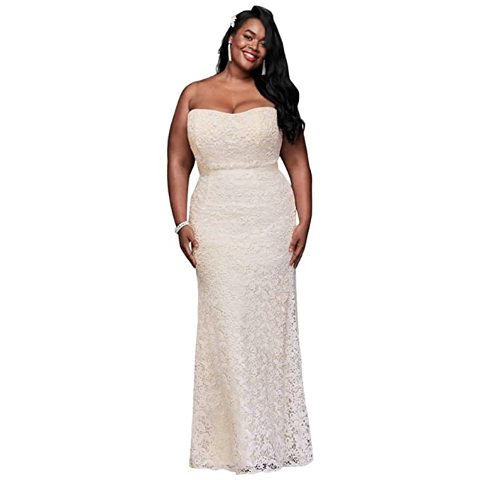 Guipure Lace Sheath Plus Size Wedding Dress Style 9WG3885 at ...