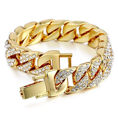 SEVENSTONE Mens Womens Chain Hiphop Curb Bracelet Cuban Silver Gold Plated Bracelet with Clear Rhinestones