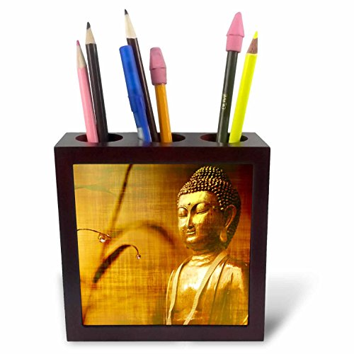 3dRose Sven Herkenrath Buddha - Golden Buddha with Asia Bamboo Zen Yoga Faith Religion - 5 inch tile pen holder (ph_266209_1) by 3dRose