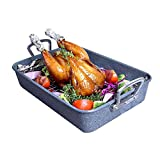 LUFEIYA Roasting Pan with Rack Nonstick 15 Inch Rectangular Large Heavy Duty Roaster Pans for Ovens