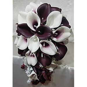 Burgundy Ivory White Calla Lily Cascading Bridal Wedding Bouquet & Boutonniere 37