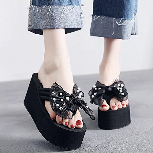 FLYRCX Señoras en el verano los talones de los zapatos de moda casual tacón exterior antideslizante y calzado de playa. Heel height 8cm