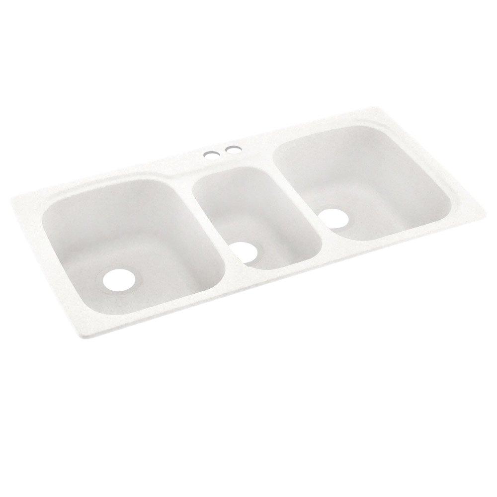 Swanstone KS04422TB.059-2 2-Hole Solid Surface Kitchen Sink, 44'' x 22'', Tahiti Ivory