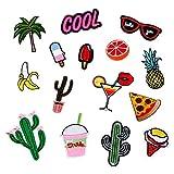 Gosear Patches Sticker, Parches de Ropa, Pegatina Parches, Set de 15 Piezas Parche Bordado Palmeras de Frutas