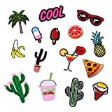 Gosear 15 PCS DIY Clothes Patches Stickers Cartoon Banana Cactus Orange Patches for Clothing Bags