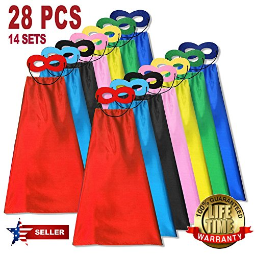 Child Super hero Costume, Cape and Mask Set for Kids, Birthday Party DIY Children (28 Pieces)