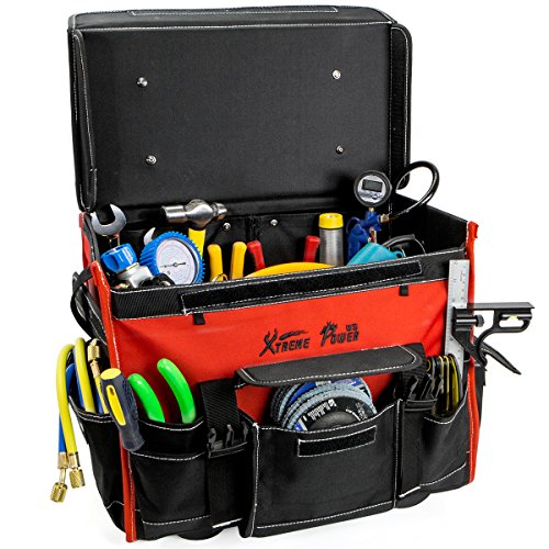 XtremepowerUS Tool Bag Organizer, Black and Red (18' Wide Mouth Rolling Tool Bag)
