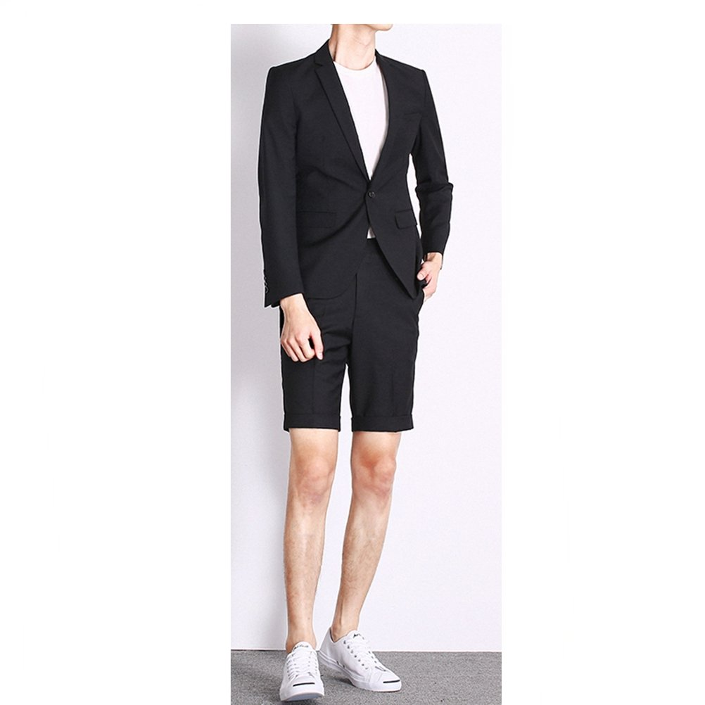 577Loby Fashion Men Suit Jacket With Shorts Casual Male Blazer Wedding Groom Suit 2 Pieces
