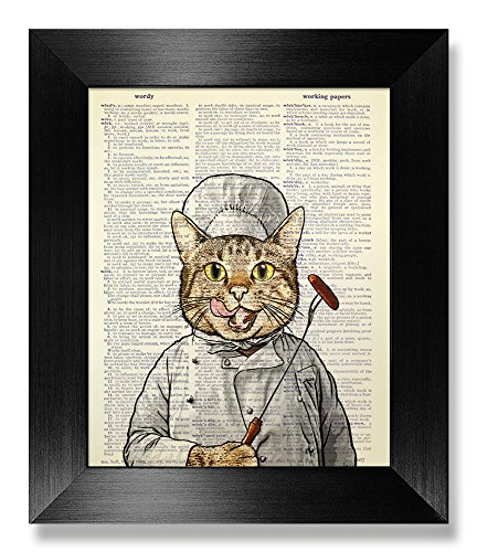 Barbecue Chef Hat Tabby Cat, Funny Kitchen Decor Wall Art, Cat Gag Gift for Cat Lover Gift, Cute Kitchen Wall Art, Chef Gift for Hostess Gift for Man, Dictionary Art Print, Original Artwork, 8x10