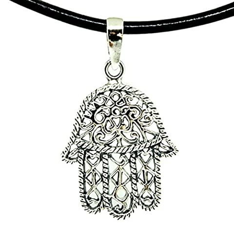 925 Sterling Silver HAMSA HAND Pendant + Black Shiny Leather 18-20 Inch 1.5mm. Necklace Lobster Clap (Konov His And Hers)