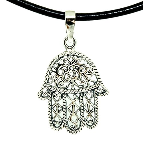 925 Sterling Silver HAMSA HAND Pendant + Black Shiny Leather 18-20 Inch 1.5mm. Necklace Lobster Clap Lock - Hamsa Leather